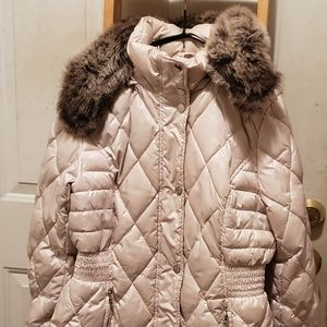 💥Apt 9 puffer style long coat with faux fur hood